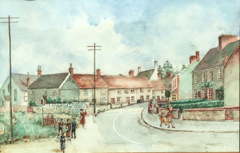 Painting of Tockington by F Crang